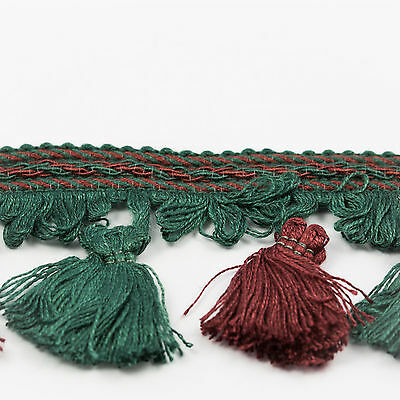 Clearance! 2.5 inch Wide, Dark Green & Wine Tassel Fringe - 25 Metres