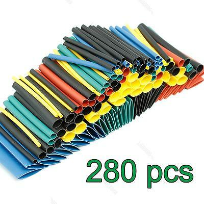 280Pc 2:1 #L Polyolefin Heat Shrink Tubing Cable Tube Sleeving Kit Wrap Wire Set