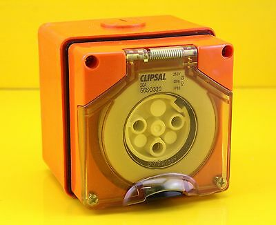 Clipsal 56SO320 Surface Mount Socket Outlet 3 Round Pin 20A IP66 250VAC - Orange