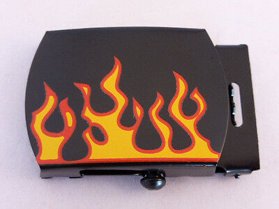 """Military buckle flat black finish with flames 32mm (1 1/4"""") wide x 1"""