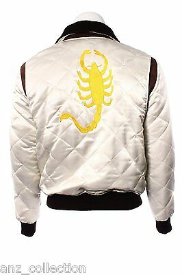 Drive Ryan Gosling Gold Scorpion Men's Fitted Beige Satin Designer Movie Jacket