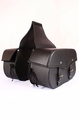 SD38 DESPERADO Black Motorcycle Motorbike Cruiser Panniers Leather Saddlebag