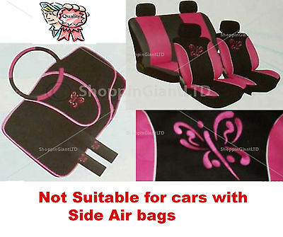 13Pc Pink Butterfly Style Embroidered Full Car Seat Cover Set + Floor Mats