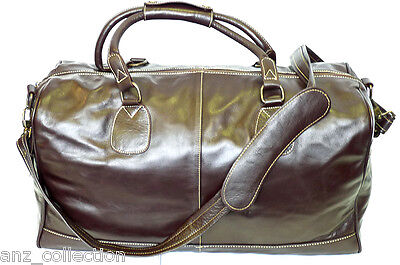 Large Brown Real Leather Holdall Duffel Travel Sports Gym Designer Weekend Bag