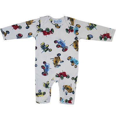 Boys Vintage Tractors Jumpsuit/babygrow From Powell Craft,100% Cotton!