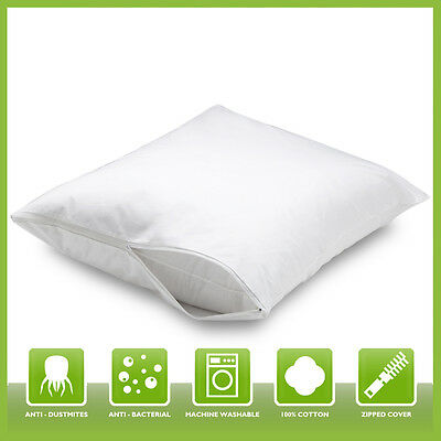 New Zipped Pillow Protectors Mattress Protector Anti Allergy Bugs Mites Treated