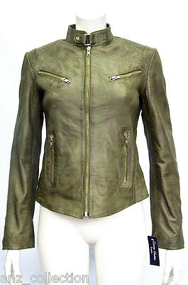 Joan Green Ladies Woman's Short Vintage Real Sheep Washed Waxed Leather Jacket