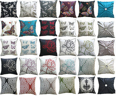 Vintage Flower Linen Pillow Case Cushion Cover Home Sofa Bed Decor Embroidery