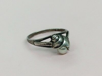 Vintage Magnus Maximus Design Sterling Silver & Pearl Ring 1979