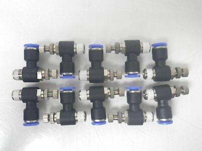 Pneumatic Push In Fitting flow control 1/4 tube X 1/8 NPT *Lot Of 10pcs* (New)