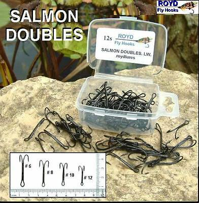 Royd.50 Boxed BLACK SALMON DOUBLE FLY TYING HOOKS.Sizes 6,8,10,12 available .