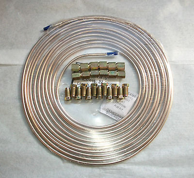"Copper Nickel, Kunifer Brake Pipe 25ft Roll, 3/16"", 24 Metric Male Female Ends"