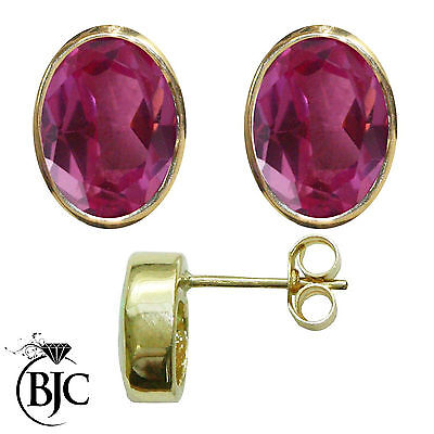 BJC® 9ct Yellow Gold Natural Pink Topaz Oval Stud Earrings 3.00ct Studs