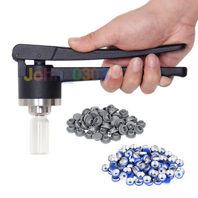 13mm Steel FLIP-OFF Vial Seal Crimper + 100 Pcs Caps + 100 Pcs Rubber Stoppers