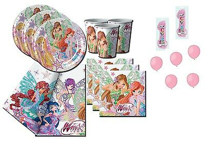 Kit Compleanno Winx Club + Forchette E Palloncini Rosa Bambina Party Festa