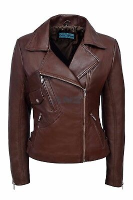 Clea Brown Ladies Womens Short Real Sheep Lambskin Soft Nappa Leather Jacket