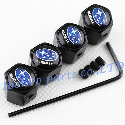 For Subaru Anti-theft Black Metal Car Wheel Tyre Tire Air Valve Cap Accessories