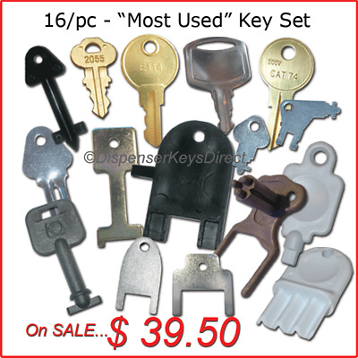 "Master Set of ""Most Popular"" Keys for Hand Towel, Toilet Tissue &Soap Dispensers"