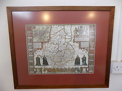 large,framed,glazed,cambridge map,1610,map,cambridge,wall map,colleages,print