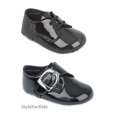 Baby Boys Shoes Black Patent Christening/Special Occasion//Wedding Pram Shoes