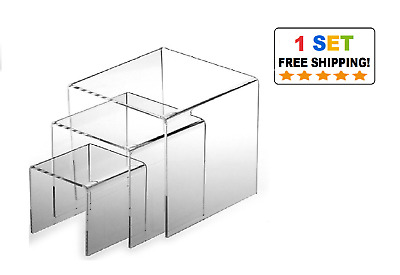 Set of 3 Clear acrylic display riser  3 4 5 inch square wholesale