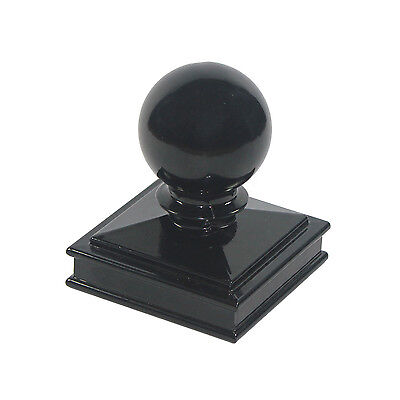 """Nuvo Iron 3"""" x 3"""" Ball Post Cap for Metal Posts - Black Fencing Decor"""