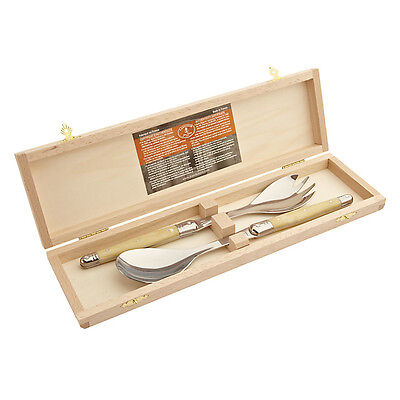 Laguiole By Jean Dubost Salad Servers Cream Beech Boxed New Rrp £29.99