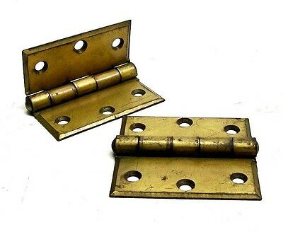 "NOS VINTAGE PAIR 3 1/2"" X 3 1/2"" BRASS PLATED SURFACE HINGE McKINNEY HINGE DM"