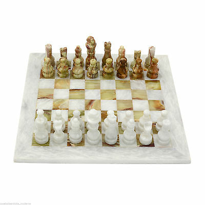 Scacchiera in Onice Bianco e Verde Marble Chess Set Classic Home Design 20x20cm