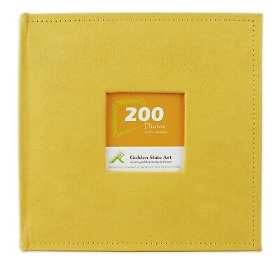 """Photo Album, Holds 200 4""""x6"""" pictures, 2 per page, Suede Cover, CL55058-8 Yellow"""