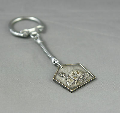 Vintage Keychain Year of The Rat Chinese Astrology Characters Silver Tone