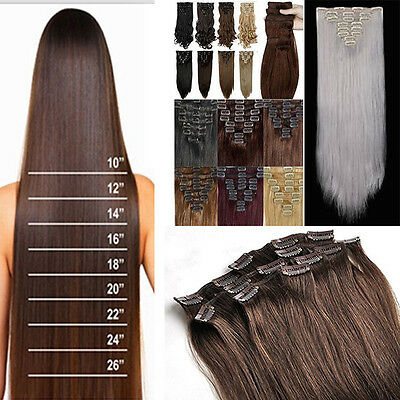 Full Head Clip in Hair Extensions Remy Thick 8 Pieces Tape Natural As Human Hair