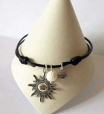 Adjustable Black Leather Surf Anklet Sun + Moon Charms + a White Shell Bead
