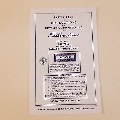 Silvertone 4 Speed Portable Phonograph Parts List and Instructions for Operating