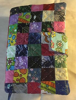 Fabric Book Cover, Paperback, Kindle - Quilted Patchwork Multicolored Blues Pink