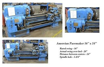 Used American Pace Maker Manual Engine Lathe 16x54 Threading ToolPost Tailstock