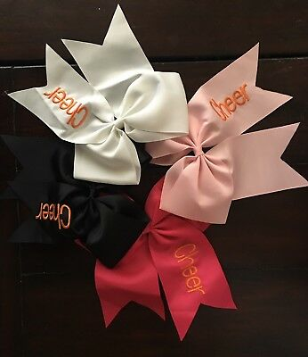 LOT of 4 NEW! Large LIGHT PINK BLACK WHITE HOT PINK CHEER HAIR BOWS FOUR