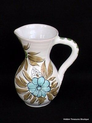 Italian Hand-Painted Floral Art Pottery Pitcher Blue Green Teal Brown Italy