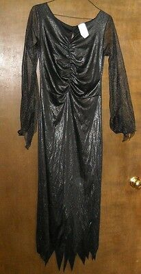 Black W/ Silver Tint Witch Halloween Costume Dress Gown Adult Size Totally Ghoul