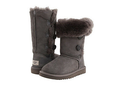 New Kids Youth Girls Women Ugg Australia Bailey Button Triplet Grey Gray 1962 K