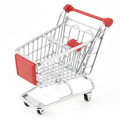 Mini Shopping Cart Bird  Toy Container Red Silver Gift Stainless Steel