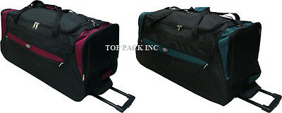 """30"""" Large Polyester Rolling Wheeled Duffel Bag Travel Suitcase"""