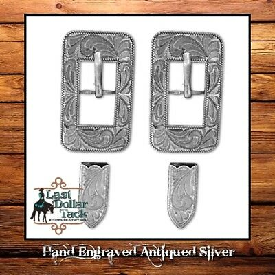 Hand Engraved Antiqued Buckle & Tip Replacement Set For Western Headstall