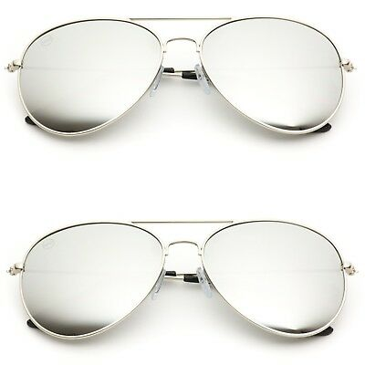 Aviator Sunglasses Vintage Mirror Lens New Mens Women Fashion Frame Retro Silver