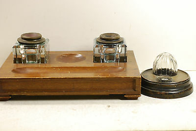 2 antique inkwells,wood stand , Butler county, Iowa, glass orange squezzer inver