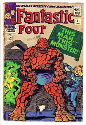 "FANTASTIC FOUR #51 (VG-) Awesome Thing Story ""This Man...This Monster!"" LQQK"