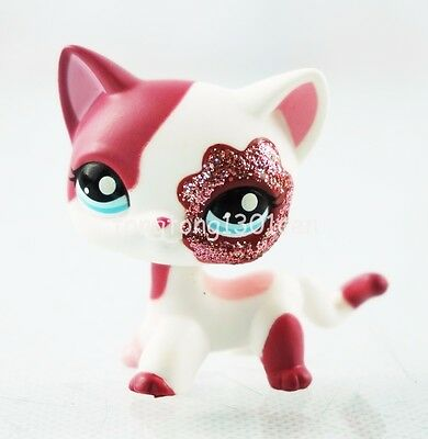 Littlest Pet Shop #2291 LPS White Cat Kitty Red Sparkle Glitter Blue Eyes Toys