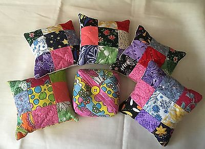 Handmade PinCushion - Patchwork, Quilted, Pin Cushion, Multicolors Walnut Shells