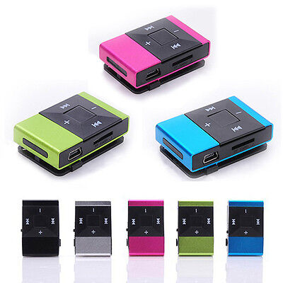 Mini USB Clip Digital Lettori Mp3 Music Player Support 8GB SD TF Card Nero