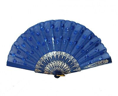 Colorful Peacock Pattern Sequin Fabric Hand Fan